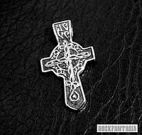 Серебряный мужской крестик с молитвой православный, срібний хрестик чоловічий