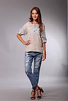 Вышиванка женская Окошко, бежевый лен, голубая вышивка, фото 1