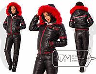 """Зимний синтепоновый костюм """"Греция"""" черный+красный мех 7579фм"""