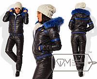 """Зимний синтепоновый костюм """"Греция"""" черный+синий мех 7581фм 014014"""