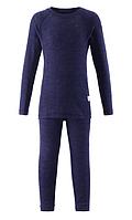 Комплект термобелья шерсть Reima (фут-ка с длинным рукавом, штани) детский. 526241 80, темно-синий