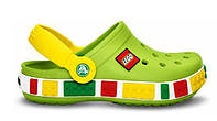 Кроксы детские Crocs Crocband Lego, детские кроксы крокбанд лего зеленые