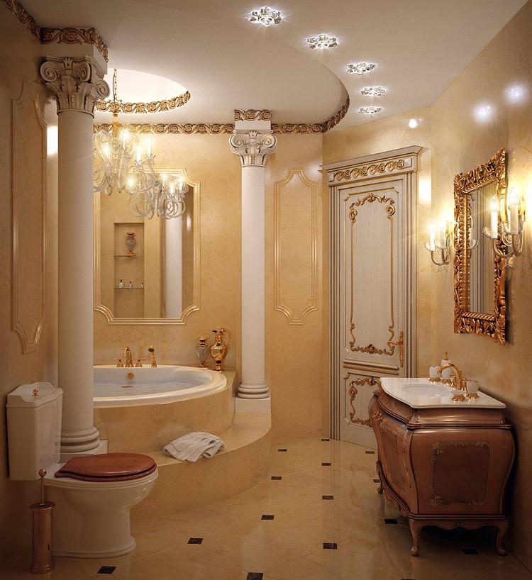 Ванная комната с колонами и эксклюзивной мебелью