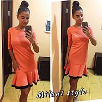 Платье с оборкой мини плотный трикотаж 8 цветов 1SMmil706
