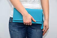 Модный клатч ручная сумочка клатчик эко-кожа с ремешком бирюзовый