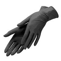 Перчатки нитриловые без пудры ЧЕРНЫЕ 100 шт., фото 1