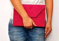 Модный клатч ручная сумочка клатчик конверт эко-замша цвет фуксия
