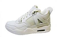 Женские, подростковые кроссовки Jordan, кожаные, белые, фото 1