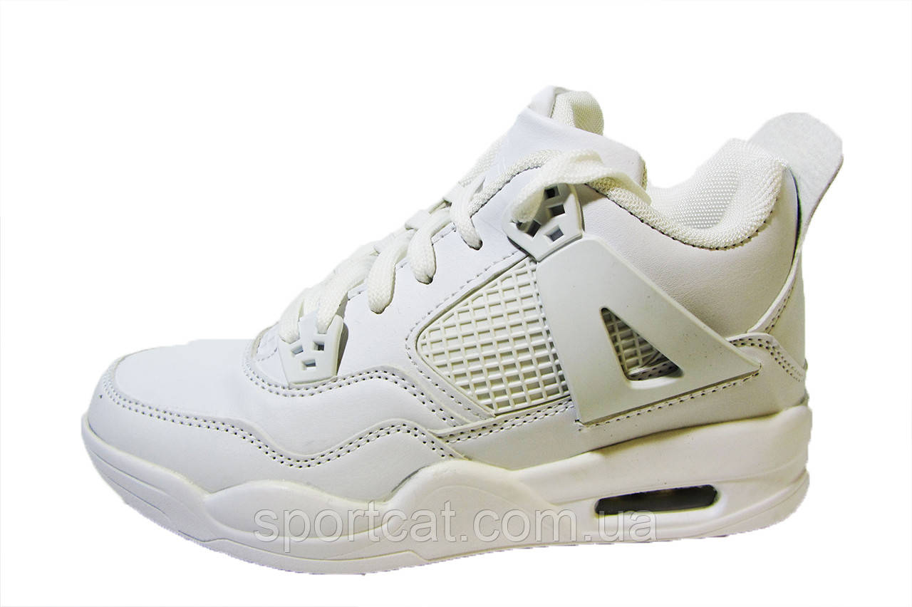 Женские, подростковые кроссовки Jordan, кожаные, белые