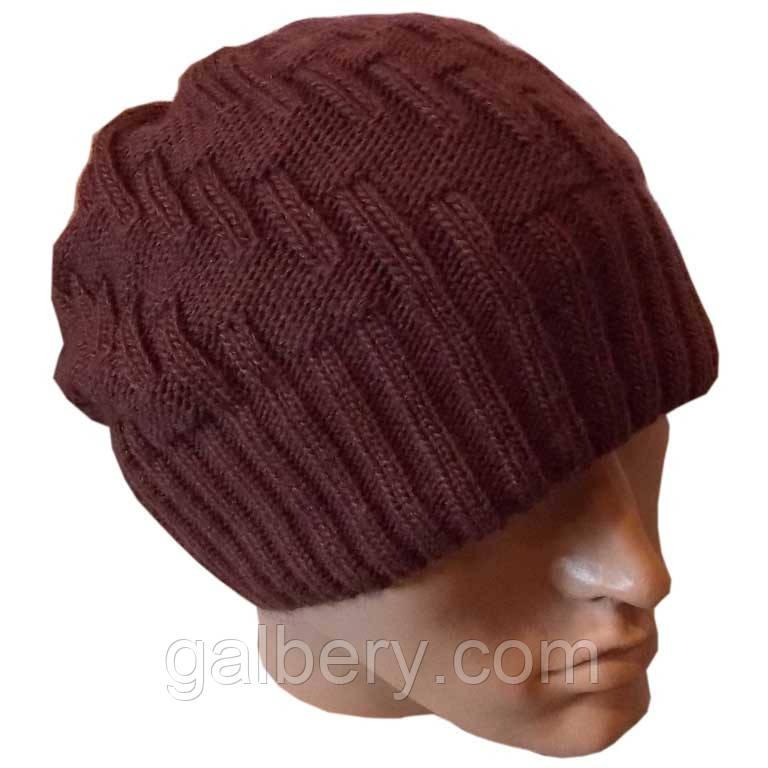 Вязаная мужская шапка носок (утепленный вариант) коньячного цвета