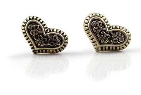 Серьги Сердце/бижутерия/цвет бронза