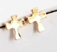 Серьги Крестик маленький/бижутерия/цвет золото
