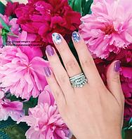 """Кольцо """"Корона Люкс"""" серебристого цвета в виде короны набор из 2-х колец."""
