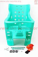 Сиденье для перевозки детей пластмассовое заднее, крепл. на багажник, зеленое
