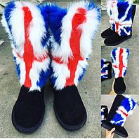 """Стильные, оригинальные угги """"Английский флаг"""" мех кролика"""