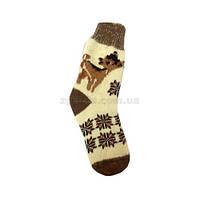 Мягкие ангоровые носки терракотового цвета с орнаментом
