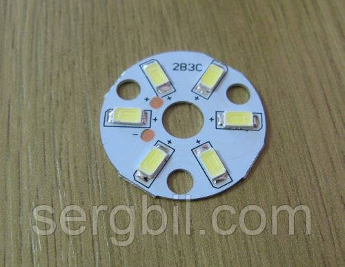 Светодиодная сборка круглая 3W 6000K из 6 smd 5730 (45-50Lm)  на ал. диске 32x1,4мм, схема 2х3 (300мА/10В)