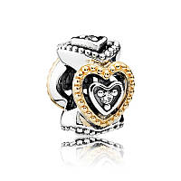 Разделитель Праздник любви из серебра с золотом Pandora