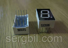 Семисегментный светодиодный индикатор 1 разряд 0,56', красный, общ. анод.