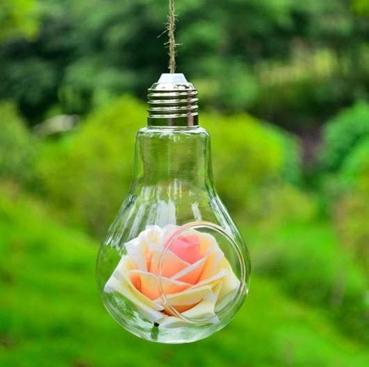 Ваза подвесная стеклянная - Лампочка 14 см V007