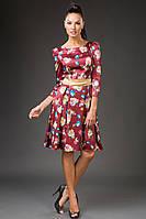 """Нарядное атласное миди-платье """"Negila"""" с расклешенной юбкой и цветочным принтом"""