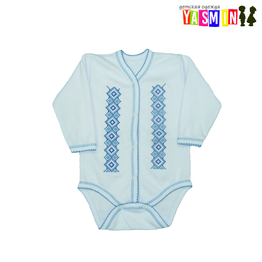 Боди-вышиванка для новорожденных мальчиков, на кнопках (интерлок)