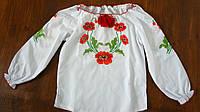 Вышитая блузка с маками в украинском стиле для девочки, Маричка