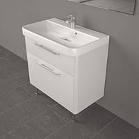 Шкафчик навесной с умывальником из искусственного камня Carla белого цвета в ванную комнату модель ШН-800