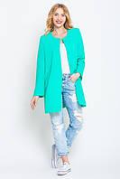 Жакет женский за бедро с длинным рукавом бирюзового цвета, 44 размер