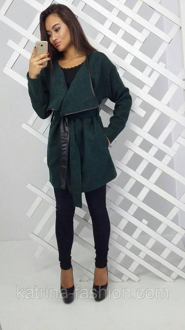 Женское стильное твидовое пальто