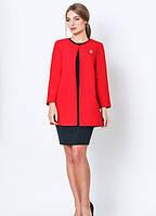 Жакет женский с длинным рукавом, красного цвета, 42 размер