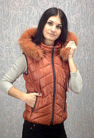 Женская утепленная жилетка с мехом