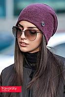 Женская модная шапка с украшением в расцветках