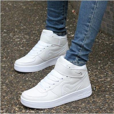 Кроссовки белые высокие экокожа