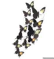 """Наклейка на стену, украшения наклейки """"12 шт. 3D бабочки наклейки"""" черный с розой"""
