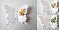 """Наклейка на стену, украшения наклейки """"12 шт. 3D бабочки наклейки"""" белый с розой"""