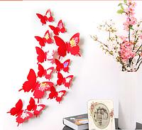 """Наклейка на стену, украшения наклейки """"12 шт. 3D бабочки наклейки"""" красный с розой"""