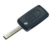 Заготовка PEUGEOT выкидной ключ 2 кнопки (корпус) лезвие HU83