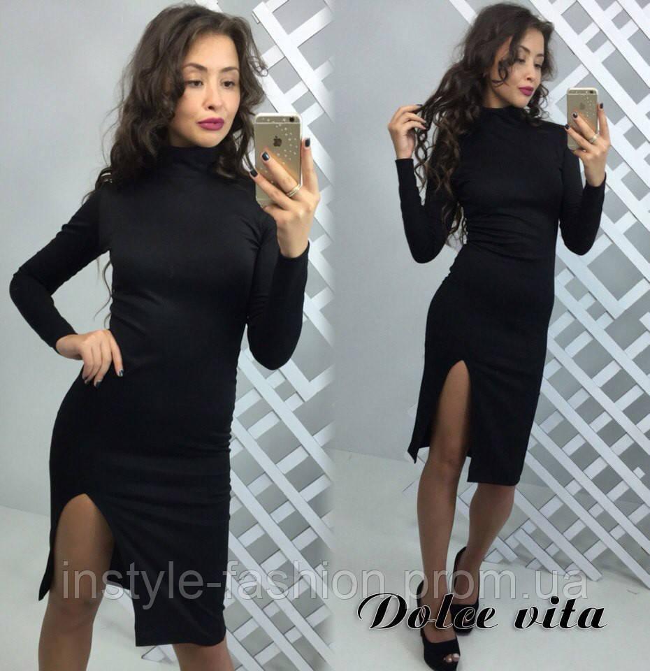 e2684b9bf69eb0b Женское стильное платье с разрезом ткань французский трикотаж черное -  Сумки брендовые, кошельки, очки
