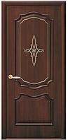 """Дверь межкомнатная глухая """"Вилла"""" Каштан - с гравировкой Gold (Новый стиль)"""