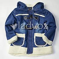 Детская джинсовая парка для девочки две пуговицы тёплая подкладка 6-7 лет
