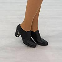 Туфли на широком каблуке из натуральной кожи черный