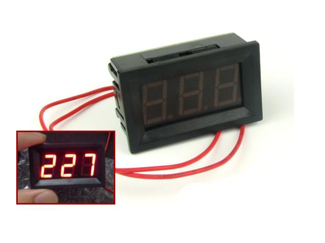 Цифровой вольтметр переменного тока 30-500В DC Красный автономный, фото 1