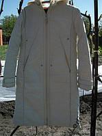 Пальто пуховик с капюшоном белый р.44-46