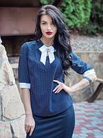 Деловая офисная женская блуза с бантиком