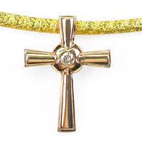 Золото 585.Крестик с Природным Бриллиантом d=2мм