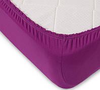 Простынь на резинке трикотажная фиолетовая 160х200