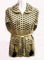 Вязаная теплая кофточка для девочки с пояском