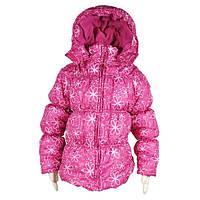 Демисезонная куртка для девочки Чехия (малиновая) детская удлиненная на синтепоне, утеплена флисом