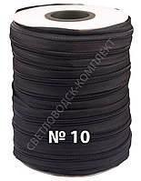 Молния обувная спиральная метражная №10 (Италия), 100 м в бобине, С580, цв.чёрный